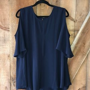 Navy blouse with peekaboo shoulder plus size